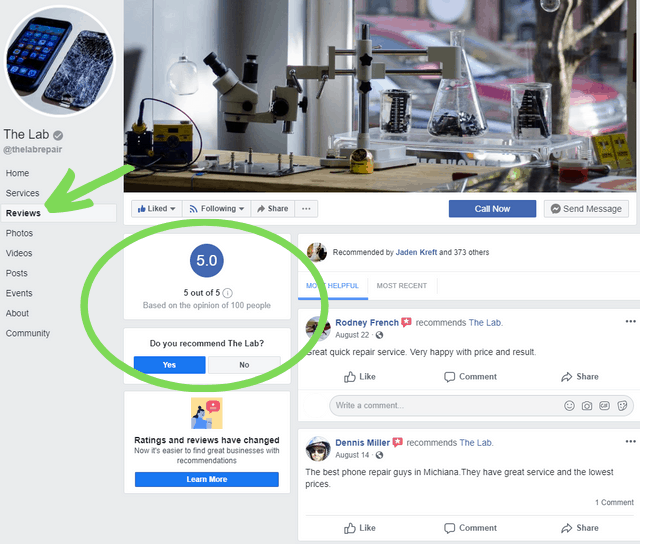 Screenshot of The Lab in Warsaw's Facebook page with an arrow pointing to their reviews.